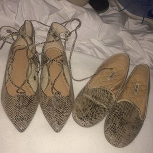 Old Navy size 7 flats LOT snake print loafers